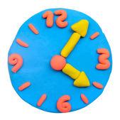 Orologio di argilla di plastilina colorata — Foto Stock