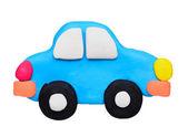 Plasticine clay car on white background — Stock Photo
