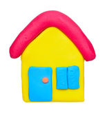 Plasticine clay house on white background — Stock Photo