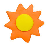 Sunny weather forecast icon symbol plasticine clay on white background — Stock Photo