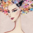 Beautiful woman. Hand painted fashion illustration — Стоковая фотография