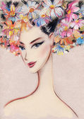 Beautiful woman. Hand painted fashion illustration — Stock Photo