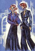 Dress.retro 风格的两个女人 — 图库照片