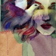 Stock Photo: Beautiful woman. watercolor illustration