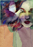 Beautiful woman. watercolor illustration — Stock Photo