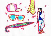Art sketch  of young man — Stock fotografie