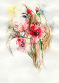 Abstract  watercolor .woman portrait — Stock Photo
