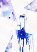 Abstract  watercolor .woman portrait — Stock fotografie