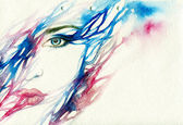 Woman portrait  .abstract  watercolor — Stockfoto