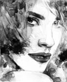 Woman portrait  .abstract  watercolor — Stock Photo