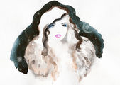 Woman portrait  .abstract  watercolor . — Stock Photo