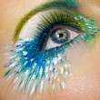 Stockfoto: Eye macro shot with creative makeup