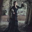 Stock Photo: Womin forest in black dress