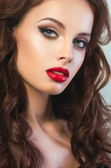 Sexy woman with red lips — Stok fotoğraf