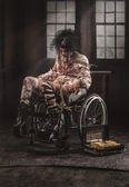 Sick patient in wheelchair — Foto Stock