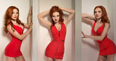 Sexy redhead woman posing in a red dress — Stock Photo