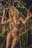 Sexy blonde bound in the forest — Stock Photo