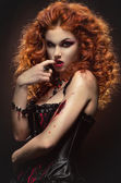 Gothic redhaired beauty — Stock Photo
