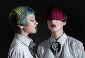 Dark portrait of pale gothic women — ストック写真
