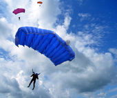 Skydivers in the sky — 图库照片