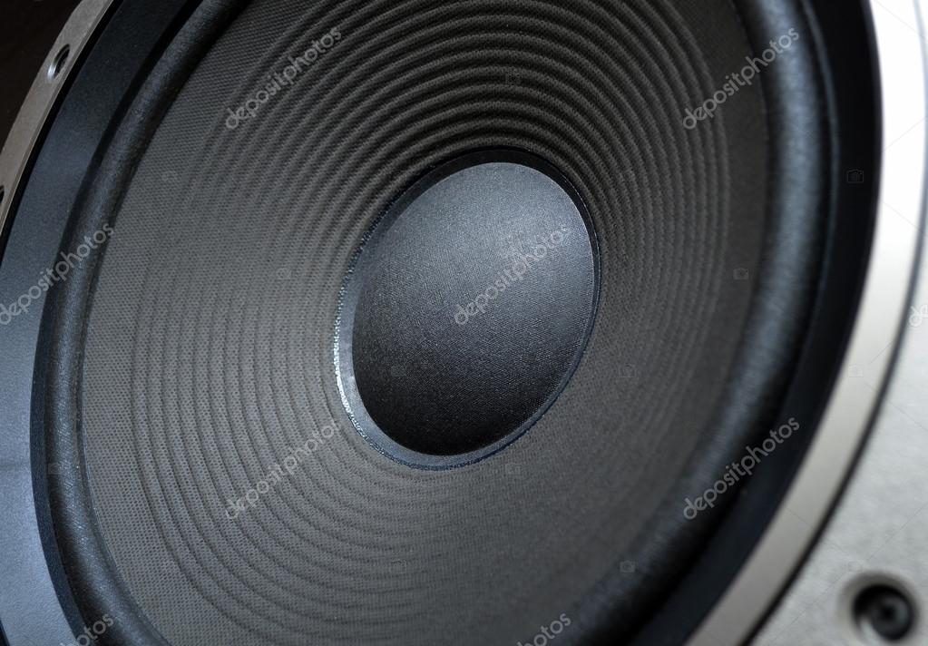 Low frequency speaker (subwoofer) close up — Stock Photo #13959499
