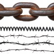Rusty chain, barbed wires, phone cord — Stock Photo #13960743