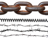 Rusty chain, barbed wires, phone cord — Stock Photo