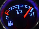Fuel gauge close up — Stock Photo