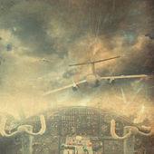 Retro aviation, grunge background — Stock Photo