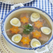 Jellied with beef tongue, carrot and quail eggs — Stock Photo