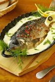Baked carp in sour cream sauce — Stock Photo
