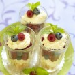 Stock Photo: Berry dessert with mascarpone and biscuit