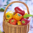 Basket with fresh colorful peppers — Stock Photo #50169363