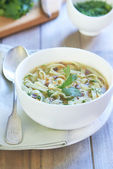 Noodle soup with turkey hearts — Stock Photo