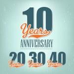 Nostalgic anniversary design in retro style — Stock Vector