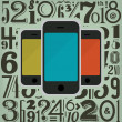 Retro Phones and Numbers Design — Imagen vectorial