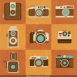 Stock Vector: Retro camerset