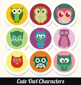 Colorful Retro Owl Character Set — Stock Vector