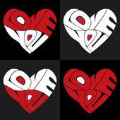 Love You Hearts — Stock Vector