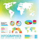 Infographic elements - World Map and Information Graphics — Stock Vector