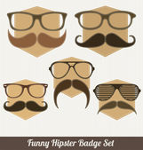Funny Hipster Badge Set — Stock Vector