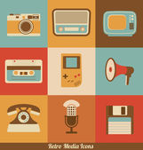 Retro Media Icons — Stock Vector