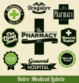 Retro Medical Labels — Stock Vector
