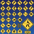Stock Vector: Danger Road Signs Collection