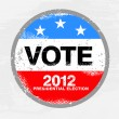 Vote 2012 USA Badge - Worn retro grunge style — Stock Vector