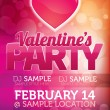 Valentines Party Flyer — Stock Vector