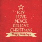 tarjeta de felicitación de Navidad - árbol tipográfico — Vector de stock