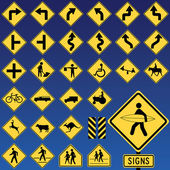 Danger Road Signs Collection — Stock Vector