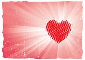 情人节复古海报设计-棕色和红色 — 图库矢量图片