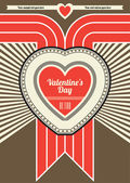 Valentines Day Retro Poster Design - Brown and Red — Stock Vector